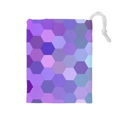 Purple Hexagon Background Cell Drawstring Pouches (large)  by Nexatart