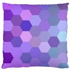 Purple Hexagon Background Cell Large Flano Cushion Case (two Sides)