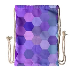 Purple Hexagon Background Cell Drawstring Bag (large)
