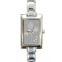 Flower Heart Plant Symbol Love Rectangle Italian Charm Watch