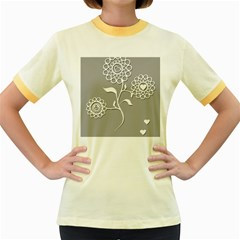 Flower Heart Plant Symbol Love Women s Fitted Ringer T-Shirts