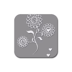Flower Heart Plant Symbol Love Rubber Square Coaster (4 pack)