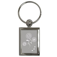 Flower Heart Plant Symbol Love Key Chains (Rectangle)