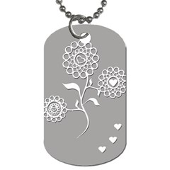 Flower Heart Plant Symbol Love Dog Tag (Two Sides)