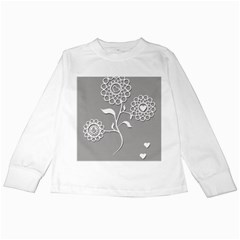 Flower Heart Plant Symbol Love Kids Long Sleeve T-Shirts