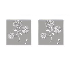 Flower Heart Plant Symbol Love Cufflinks (Square)