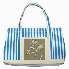 Flower Heart Plant Symbol Love Striped Blue Tote Bag