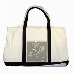 Flower Heart Plant Symbol Love Two Tone Tote Bag