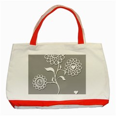 Flower Heart Plant Symbol Love Classic Tote Bag (Red)
