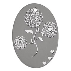 Flower Heart Plant Symbol Love Oval Ornament (Two Sides)
