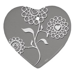 Flower Heart Plant Symbol Love Heart Ornament (Two Sides)