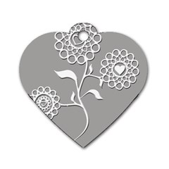 Flower Heart Plant Symbol Love Dog Tag Heart (Two Sides)