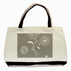 Flower Heart Plant Symbol Love Basic Tote Bag (Two Sides)