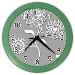 Flower Heart Plant Symbol Love Color Wall Clocks