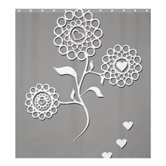 Flower Heart Plant Symbol Love Shower Curtain 66  x 72  (Large)