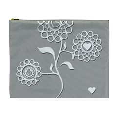 Flower Heart Plant Symbol Love Cosmetic Bag (XL)