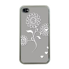 Flower Heart Plant Symbol Love Apple iPhone 4 Case (Clear)