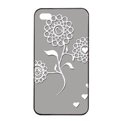 Flower Heart Plant Symbol Love Apple iPhone 4/4s Seamless Case (Black)