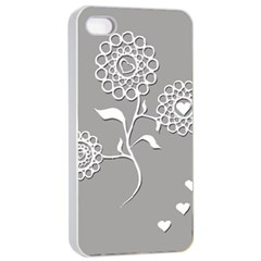 Flower Heart Plant Symbol Love Apple iPhone 4/4s Seamless Case (White)