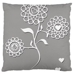 Flower Heart Plant Symbol Love Large Cushion Case (one Side) by Nexatart