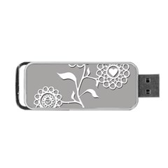 Flower Heart Plant Symbol Love Portable USB Flash (One Side)