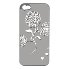 Flower Heart Plant Symbol Love Apple iPhone 5 Case (Silver)