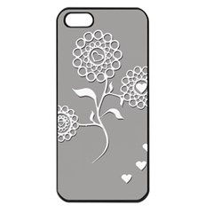Flower Heart Plant Symbol Love Apple iPhone 5 Seamless Case (Black)