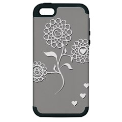 Flower Heart Plant Symbol Love Apple iPhone 5 Hardshell Case (PC+Silicone)