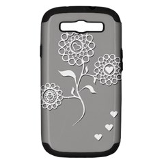 Flower Heart Plant Symbol Love Samsung Galaxy S III Hardshell Case (PC+Silicone)