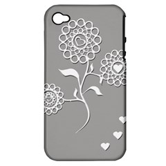 Flower Heart Plant Symbol Love Apple iPhone 4/4S Hardshell Case (PC+Silicone)