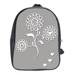 Flower Heart Plant Symbol Love School Bag (xl) by Nexatart