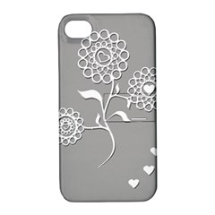 Flower Heart Plant Symbol Love Apple iPhone 4/4S Hardshell Case with Stand