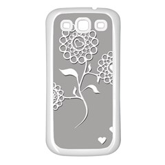 Flower Heart Plant Symbol Love Samsung Galaxy S3 Back Case (White)