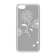 Flower Heart Plant Symbol Love Apple iPhone 5C Seamless Case (White)