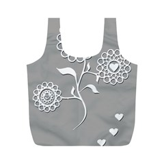 Flower Heart Plant Symbol Love Full Print Recycle Bags (M)