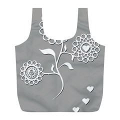 Flower Heart Plant Symbol Love Full Print Recycle Bags (L)