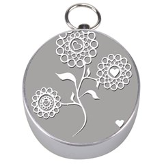 Flower Heart Plant Symbol Love Silver Compasses