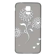 Flower Heart Plant Symbol Love Samsung Galaxy S5 Back Case (White)