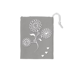 Flower Heart Plant Symbol Love Drawstring Pouches (Small)
