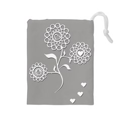 Flower Heart Plant Symbol Love Drawstring Pouches (Large)
