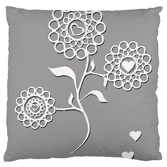 Flower Heart Plant Symbol Love Large Flano Cushion Case (One Side)