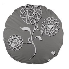 Flower Heart Plant Symbol Love Large 18  Premium Flano Round Cushions