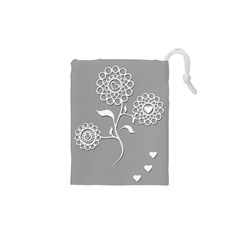 Flower Heart Plant Symbol Love Drawstring Pouches (XS)