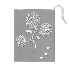 Flower Heart Plant Symbol Love Drawstring Pouches (Extra Large)