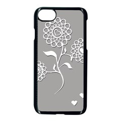 Flower Heart Plant Symbol Love Apple iPhone 7 Seamless Case (Black)