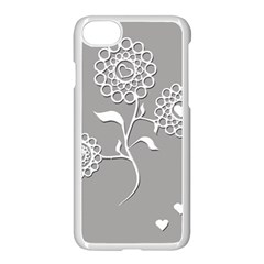 Flower Heart Plant Symbol Love Apple iPhone 7 Seamless Case (White)