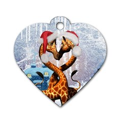 Christmas, Giraffe In Love With Christmas Hat Dog Tag Heart (one Side) by FantasyWorld7
