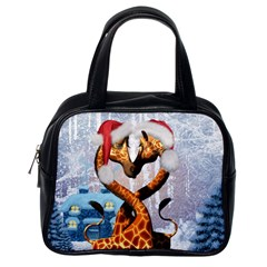 Christmas, Giraffe In Love With Christmas Hat Classic Handbags (one Side) by FantasyWorld7