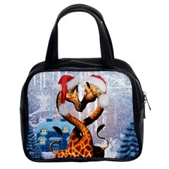Christmas, Giraffe In Love With Christmas Hat Classic Handbags (2 Sides) by FantasyWorld7