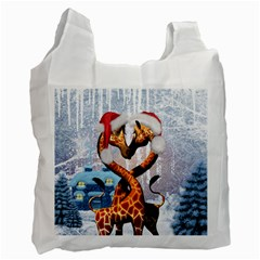 Christmas, Giraffe In Love With Christmas Hat Recycle Bag (one Side) by FantasyWorld7